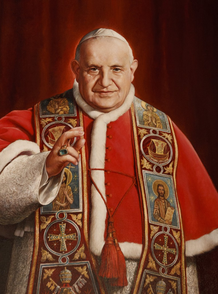 A painting of Blessed John XXIII, the pope who convened the Second Vatican Council, is seen in the museum dedicated to him in his birthplace of Sotto il Monte Giovanni XXIII, Italy. Pope Francis has ask the world's cardinals to vote on the canonization of Blessed John XXIII, even in the absence of a miracle. The announcement came July 5 with Pope Francis' decree that cleared the way for the canonization of Blessed John Paul II, the late Polish pontiff. (CNS file photo/Paul Haring) (July 5, 2013) See POPES-CANONIZE July 5, 2013.